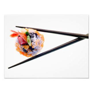 Sushi Shrimp Roll Black Chopsticks on White Japan Photographic Print