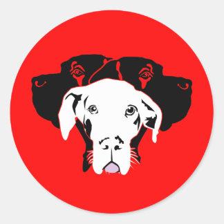 Süße Dogge in weiß Round Sticker
