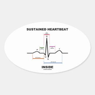 Sustained Heartbeat Inside (ECG/EKG) Oval Sticker