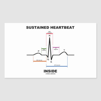 Sustained Heartbeat Inside (ECG/EKG) Rectangular Sticker