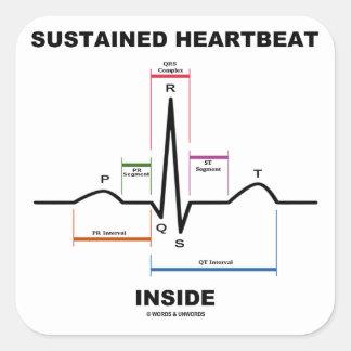 Sustained Heartbeat Inside ECG EKG Square Sticker