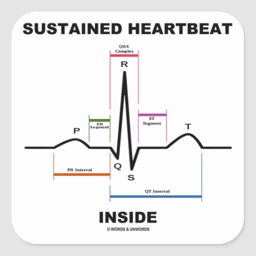 Sustained Heartbeat Inside (ECG/EKG) Square Sticker