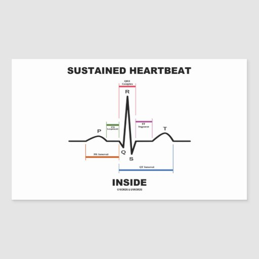 Sustained Heartbeat Inside (ECG/EKG) Rectangle Stickers