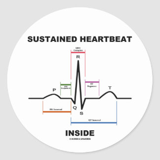 Sustained Heartbeat Inside (Electrocardiogram) Round Sticker