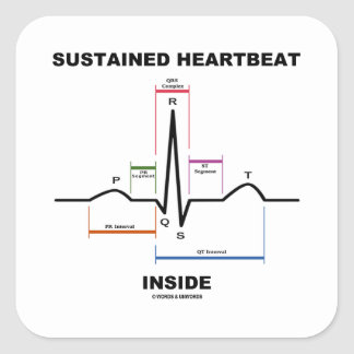 Sustained Heartbeat Inside (Electrocardiogram) Square Sticker