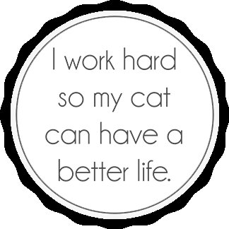 I work hard so my cat can have a better life.