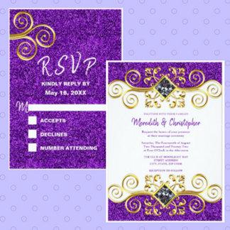 Purple Glitter Gold Gemstone Wedding Collection