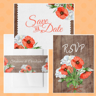Rustic Wood Orange Poppy Floral Wedding