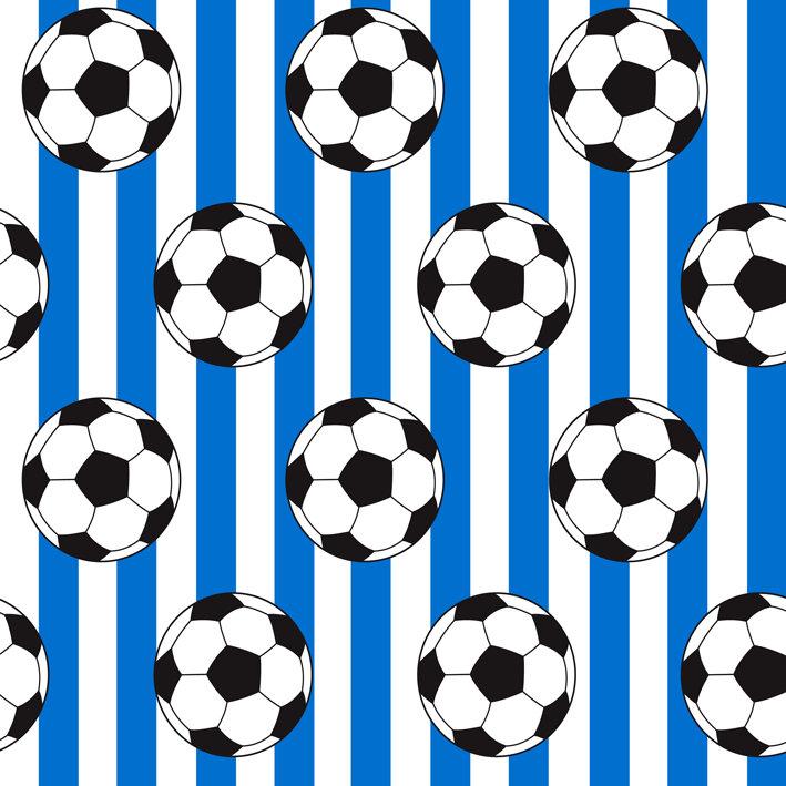 Blue Stripes And Soccer Balls