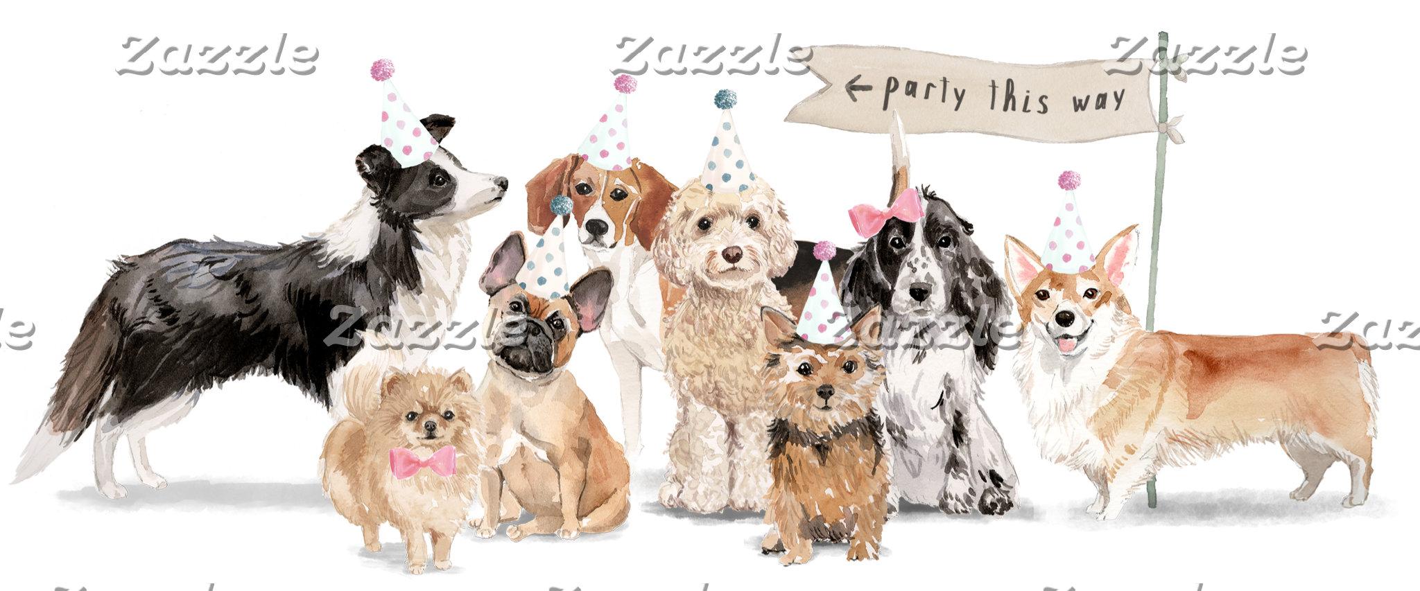 Dog Party Illustration
