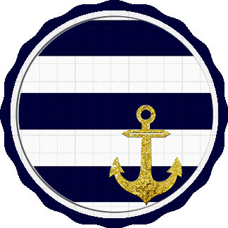 Gold anchor nautical stripes