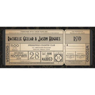 Vintage Wedding Ticket with RSVP collection II