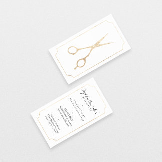 Hair stylist elegant faux gold scissors white chic