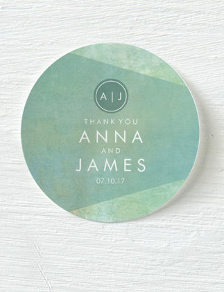 Personalised Sticker - Teal, Watercolour Thank You Wedding Sticker from Zazzle