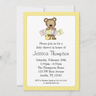 teddy bear baby shower invitations announcements
