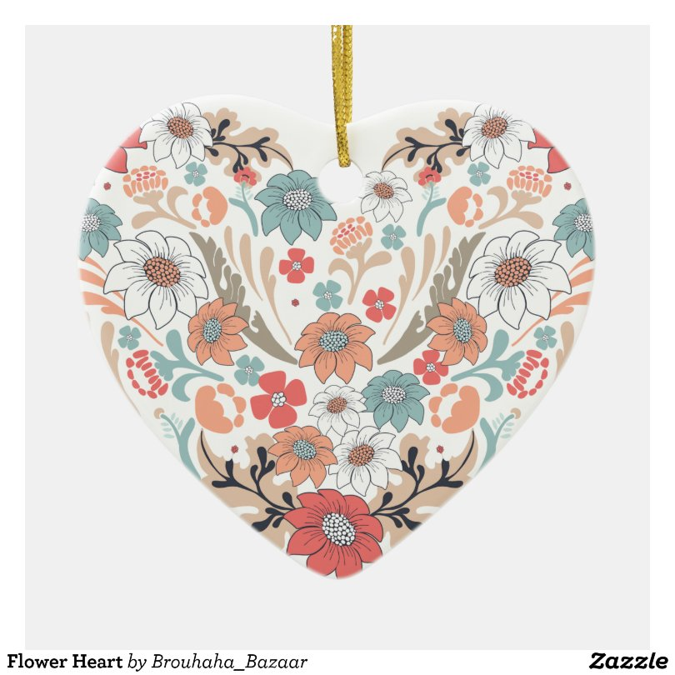 Flower Heart Ceramic Heart Decoration