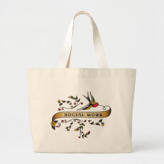 Swallow and Scroll with Social Work Large Tote Bag