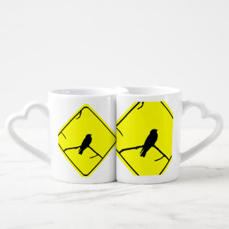 Swallow Bird Silhouette Caution or Crossing Sign Lovers Mugs