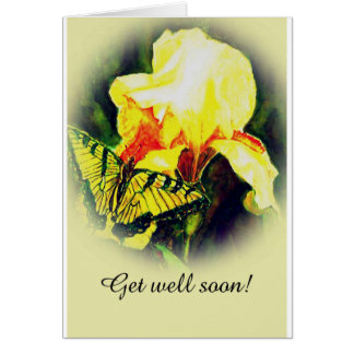 Swallowtail and iris get well card. card