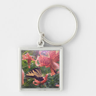 Swallowtail Butterfly on Tiger Lily Keychain