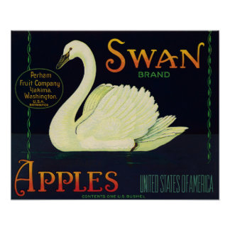 Swan Brand Apples Crate Label Poster