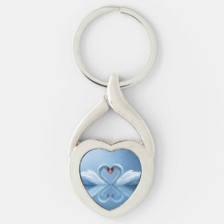 Swan Eternal Love Silver-Colored Twisted Heart Key Ring