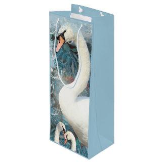 Swan floral swirl wine gift bag