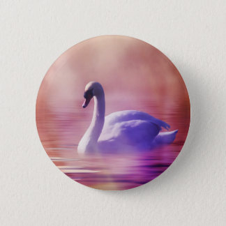 Swan in colorful moonlight 6 cm round badge