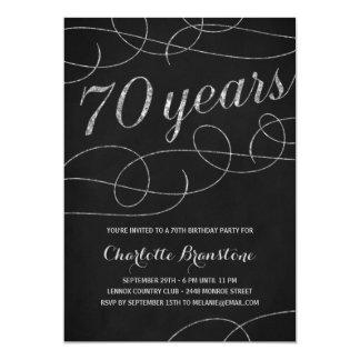 Swanky Silver 70th Birthday Party 13 Cm X 18 Cm Invitation Card
