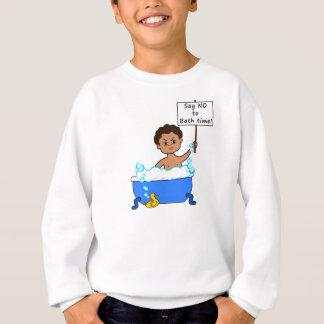 sweatshirt bath time boy in tub with sign
