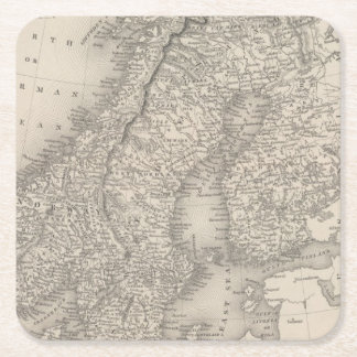 Sweden and Norway 4 Square Paper Coaster