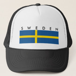 sweden country flag nation symbol text name trucker hat