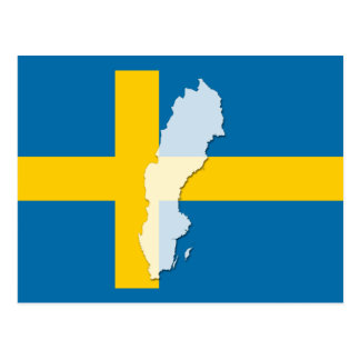 Sweden flag map outline postcard