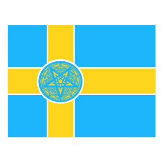 Sweden Flag Pentagram Postcard