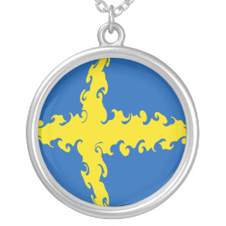 Sweden Gnarly Flag Round Pendant Necklace