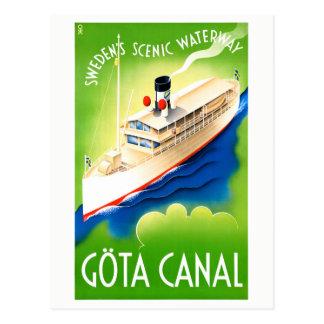 Sweden Göta Canal Restored Vintage Travel Poster Postcard