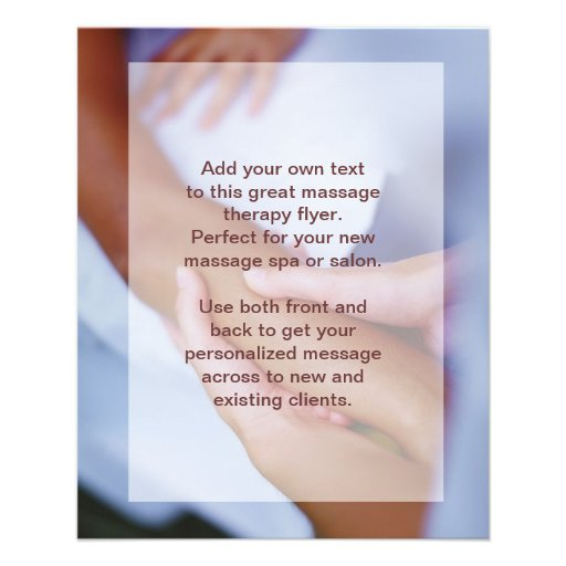 Swedish Massage Photo - Arm and Hand Full Color Flyer