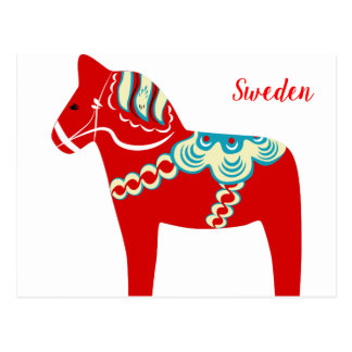 Swedish Red Dala Horse Postcard