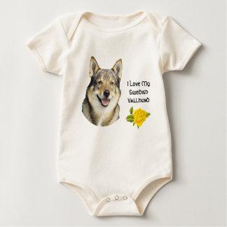 Swedish Vallhund and Yellow Roses Baby Bodysuit