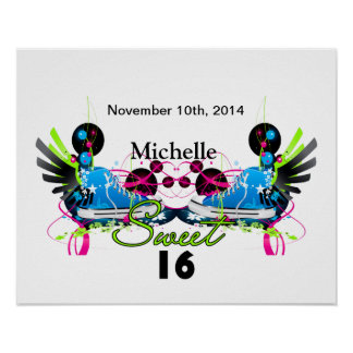 Sweet 16 80's Neon Sneakers Name Date Poster