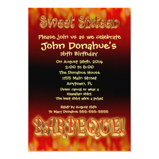 Sweet 16 barbecue invitation