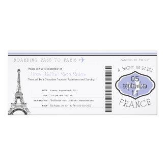 Sweet 16 Birthday Boarding Pass to Paris 10 Cm X 24 Cm Invitation Card