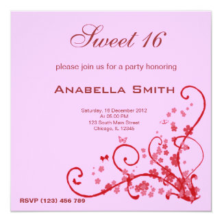 Sweet 16 Birthday Party 13 Cm X 13 Cm Square Invitation Card