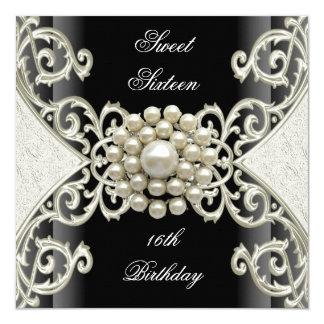 Sweet 16 Birthday Party Black White Cream Pearl 13 Cm X 13 Cm Square Invitation Card