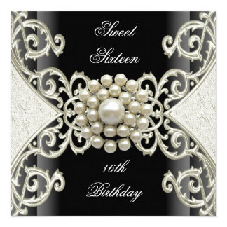 Sweet 16 Birthday Party Black White Cream Pearl Card