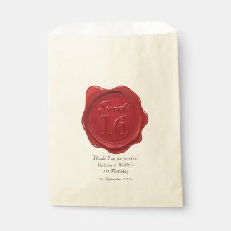 Sweet 16 Birthday Thank You Red Wax Seal Favour Bags