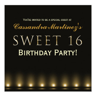 SWEET 16 Black Gold Hollywood Party Invitation