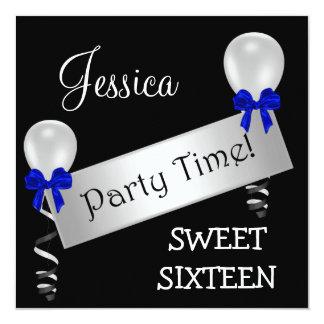 Sweet 16 Black White Silver Blue Bows Balloons 13 Cm X 13 Cm Square Invitation Card