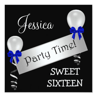 Sweet 16 Black White Silver Blue Bows Balloons Card