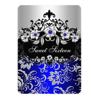 Sweet 16 Blue Silver Black Floral Jewel Party Card
